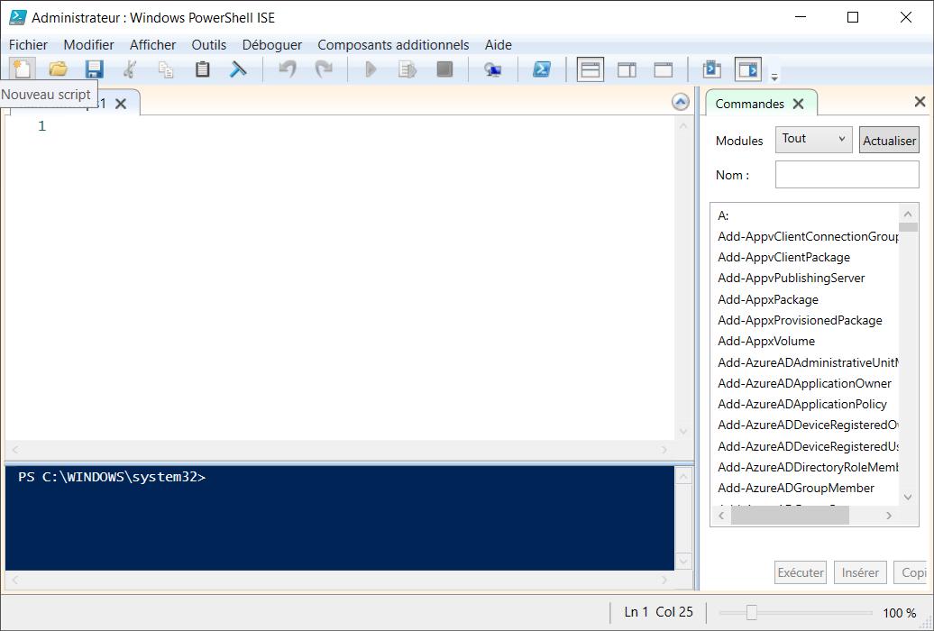 Texte de remplacement généré par une machine: Administrateur . • Windows PowerShell ISE Fichier Modifier Afficher Outils Déboguer Nouveau script 1 Composants additionnels Aide Commandes X Tout Modules Nom : x x Actualiser Ln 1 Col 25 Add-AppvClientConnectionGrouF Add-AppvClientPackage Add-AppvPublishingServer Add-AppxPackage Add-AppxProvisionedPackage Add-AppxVolume Add-AzureADAdministrativelJnitt• Add-AzureADApplicationOwner Add-AzureADApplicationPolicy Add-AzureADDeviceRegisteredO Add-AzureADDeviceRegisteredl_E Add-AzureADDirectoryRoleMeml Add-AzureADGroupMember 100 %